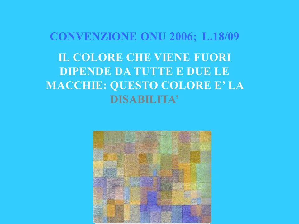 CONVENZIONE ONU 2006; L.18/09 IL COLORE CHE VIENE FUORI DIPENDE DA TUTTE E DUE LE MACCHIE: QUESTO COLORE E' LA DISABILITA'