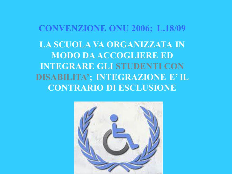 CONVENZIONE ONU 2006; L.18/09 LA SCUOLA VA ORGANIZZATA IN MODO DA ACCOGLIERE ED INTEGRARE GLI STUDENTI CON DISABILITA'; INTEGRAZIONE E' IL CONTRARIO D