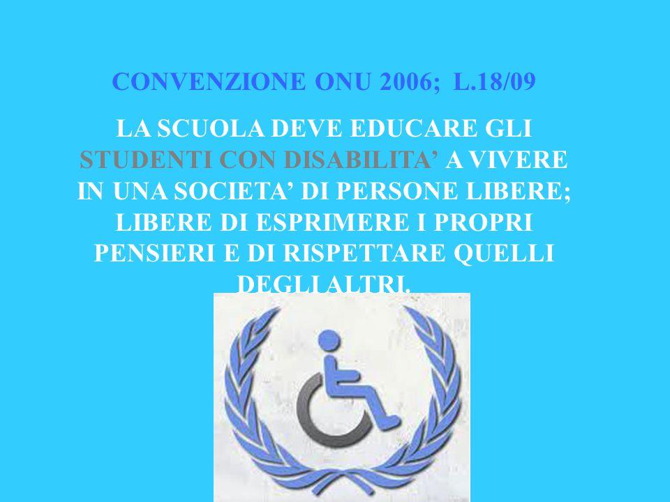 CONVENZIONE ONU 2006; L.18/09 LA SCUOLA DEVE EDUCARE GLI STUDENTI CON DISABILITA' A VIVERE IN UNA SOCIETA' DI PERSONE LIBERE; LIBERE DI ESPRIMERE I PROPRI PENSIERI E DI RISPETTARE QUELLI DEGLI ALTRI.