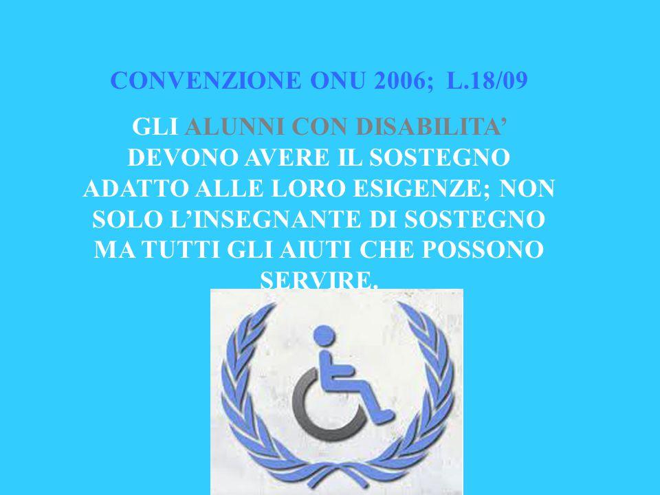 CONVENZIONE ONU 2006; L.18/09 GLI ALUNNI CON DISABILITA' DEVONO AVERE IL SOSTEGNO ADATTO ALLE LORO ESIGENZE; NON SOLO L'INSEGNANTE DI SOSTEGNO MA TUTT