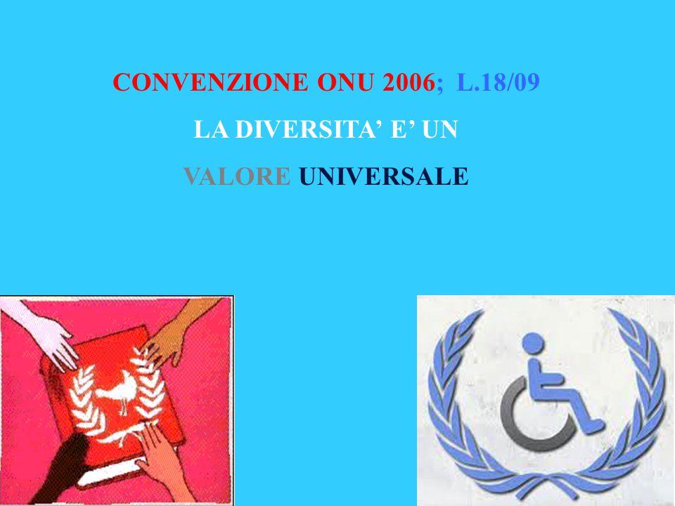 CONVENZIONE ONU 2006; L.18/09 LA DIVERSITA' E' UN VALORE UNIVERSALE