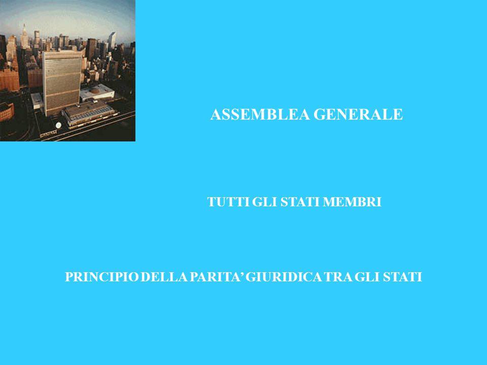 ASSEMBLEA GENERALE TUTTI GLI STATI MEMBRI PRINCIPIO DELLA PARITA' GIURIDICA TRA GLI STATI