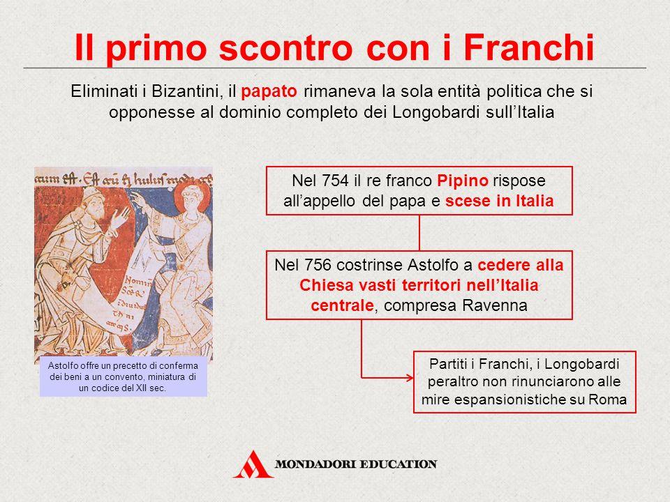 Il primo scontro con i Franchi Eliminati i Bizantini, il papato rimaneva la sola entità politica che si opponesse al dominio completo dei Longobardi s
