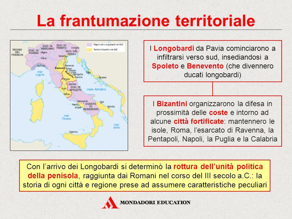 La frantumazione territoriale I Longobardi da Pavia cominciarono a infiltrarsi verso sud, insediandosi a Spoleto e Benevento (che divennero ducati lon