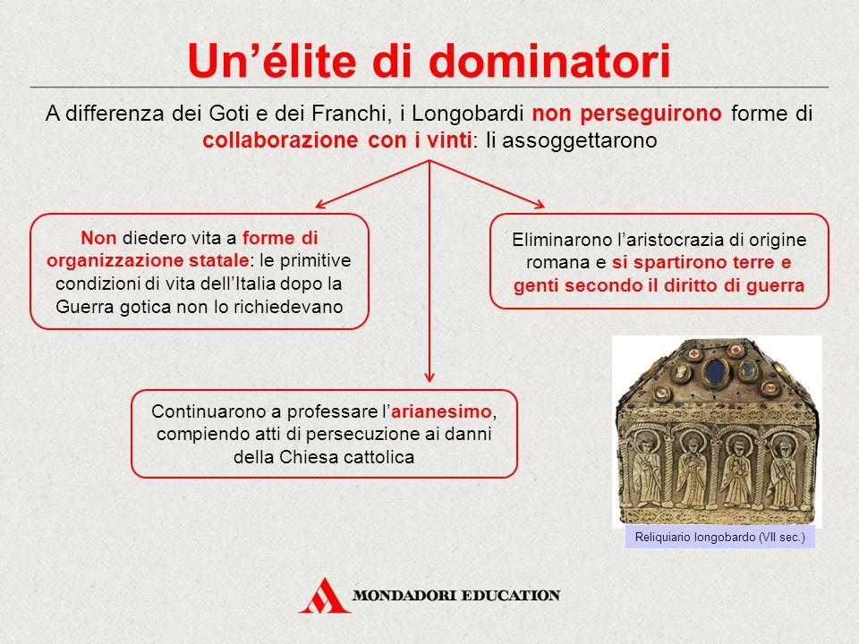 Un'élite di dominatori A differenza dei Goti e dei Franchi, i Longobardi non perseguirono forme di collaborazione con i vinti: li assoggettarono Non d