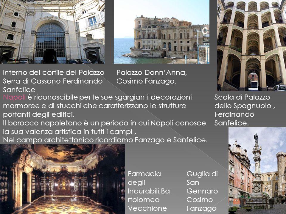 Palazzo Donn'Anna, Cosimo Fanzago. Scala di Palazzo dello Spagnuolo, Ferdinando Sanfelice. Napoli è riconoscibile per le sue sgargianti decorazioni ma