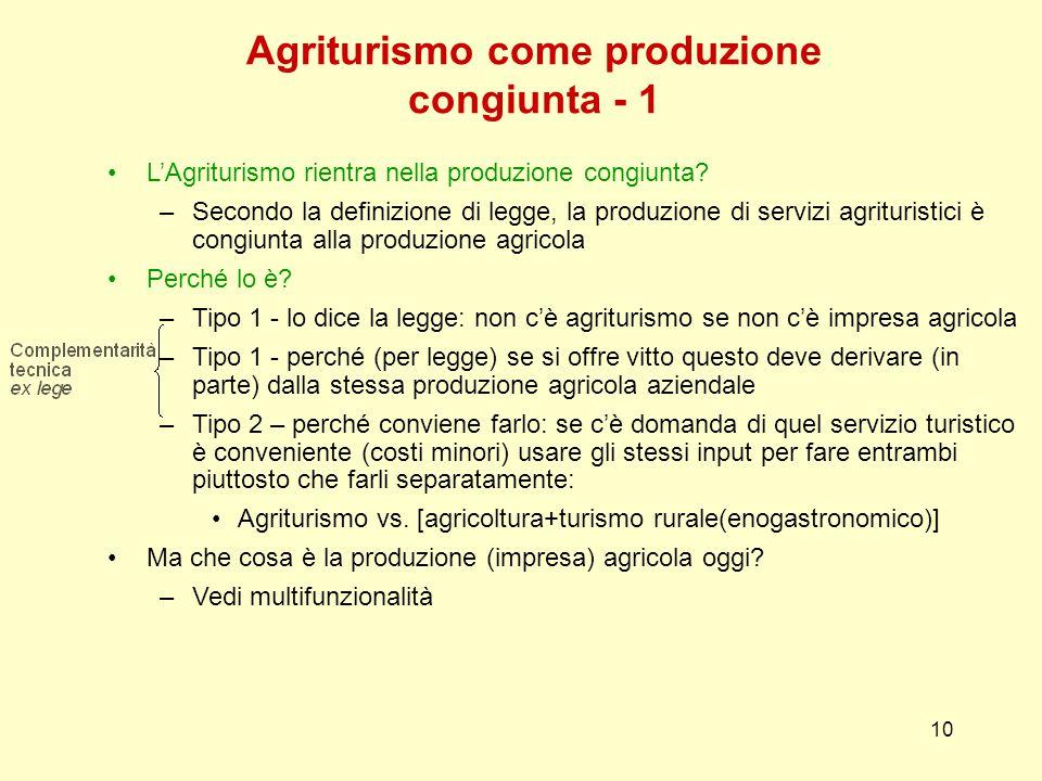 10 Agriturismo come produzione congiunta - 1 L'Agriturismo rientra nella produzione congiunta.