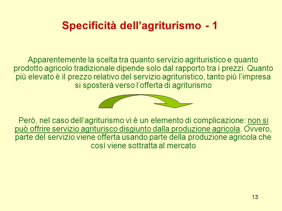 13 Specificità dell'agriturismo - 1 Apparentemente la scelta tra quanto servizio agrituristico e quanto prodotto agricolo tradizionale dipende solo dal rapporto tra i prezzi.