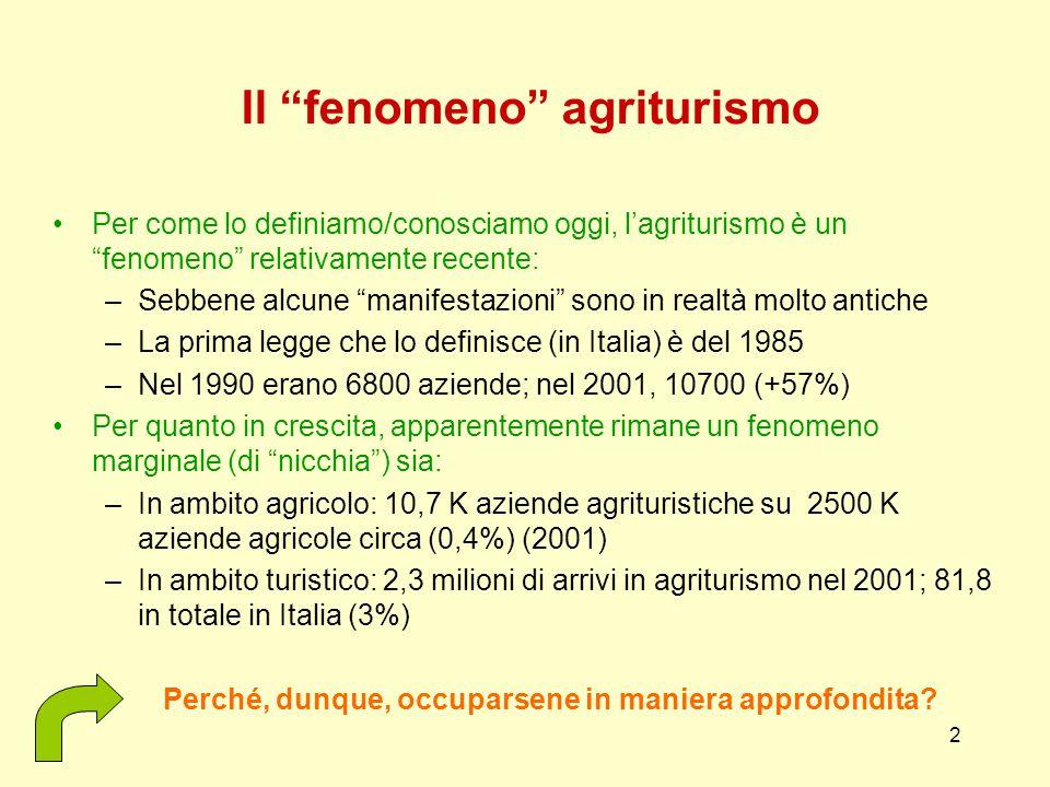 2 Il fenomeno agriturismo Per come lo definiamo/conosciamo oggi, l'agriturismo è un fenomeno relativamente recente: –Sebbene alcune manifestazioni sono in realtà molto antiche –La prima legge che lo definisce (in Italia) è del 1985 –Nel 1990 erano 6800 aziende; nel 2001, 10700 (+57%) Per quanto in crescita, apparentemente rimane un fenomeno marginale (di nicchia ) sia: –In ambito agricolo: 10,7 K aziende agrituristiche su 2500 K aziende agricole circa (0,4%) (2001) –In ambito turistico: 2,3 milioni di arrivi in agriturismo nel 2001; 81,8 in totale in Italia (3%) Perché, dunque, occuparsene in maniera approfondita?
