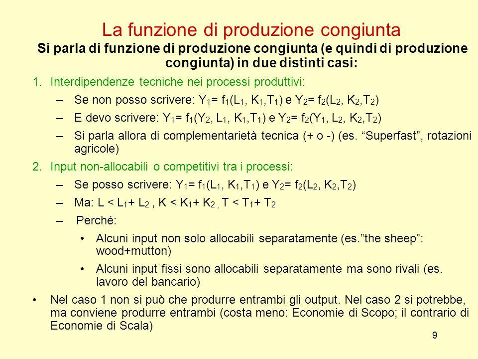 9 La funzione di produzione congiunta Si parla di funzione di produzione congiunta (e quindi di produzione congiunta) in due distinti casi: 1.Interdipendenze tecniche nei processi produttivi: –Se non posso scrivere: Y 1 = f 1 (L 1, K 1,T 1 ) e Y 2 = f 2 (L 2, K 2,T 2 ) –E devo scrivere: Y 1 = f 1 (Y 2, L 1, K 1,T 1 ) e Y 2 = f 2 (Y 1, L 2, K 2,T 2 ) –Si parla allora di complementarietà tecnica (+ o -) (es.