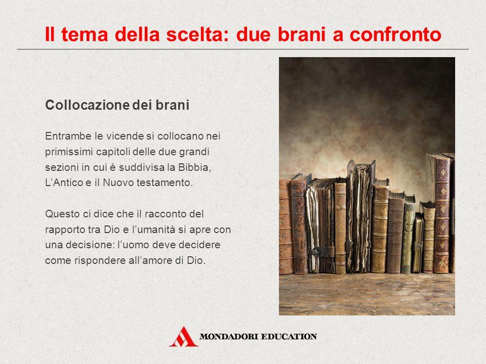 Collocazione dei brani Entrambe le vicende si collocano nei primissimi capitoli delle due grandi sezioni in cui è suddivisa la Bibbia, L'Antico e il N