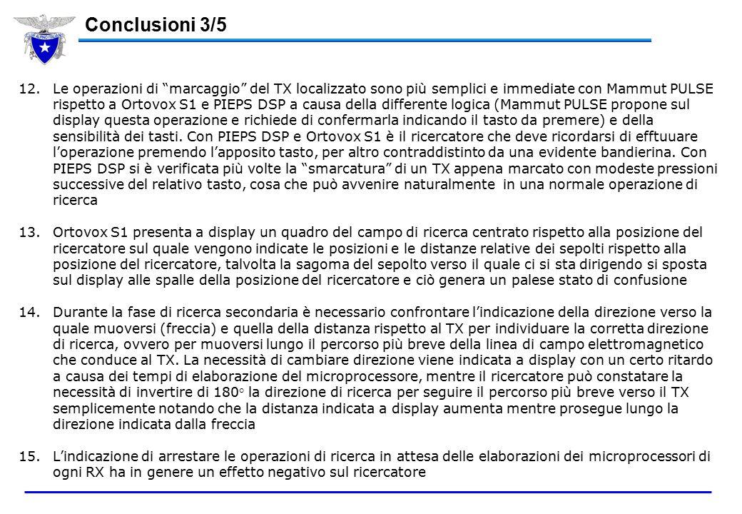 12.Le operazioni di marcaggio del TX localizzato sono più semplici e immediate con Mammut PULSE rispetto a Ortovox S1 e PIEPS DSP a causa della differente logica (Mammut PULSE propone sul display questa operazione e richiede di confermarla indicando il tasto da premere) e della sensibilità dei tasti.