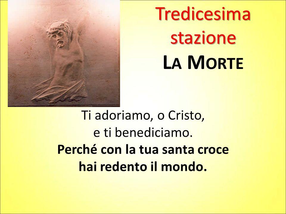 Tredicesima stazione L A M ORTE Ti adoriamo, o Cristo, e ti benediciamo. Perché con la tua santa croce hai redento il mondo.