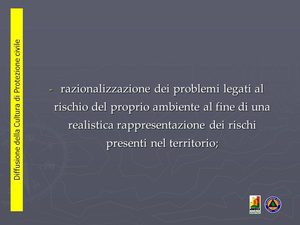 - razionalizzazione dei problemi legati al rischio del proprio ambiente al fine di una realistica rappresentazione dei rischi presenti nel territorio; Diffusione della Cultura di Protezione civile