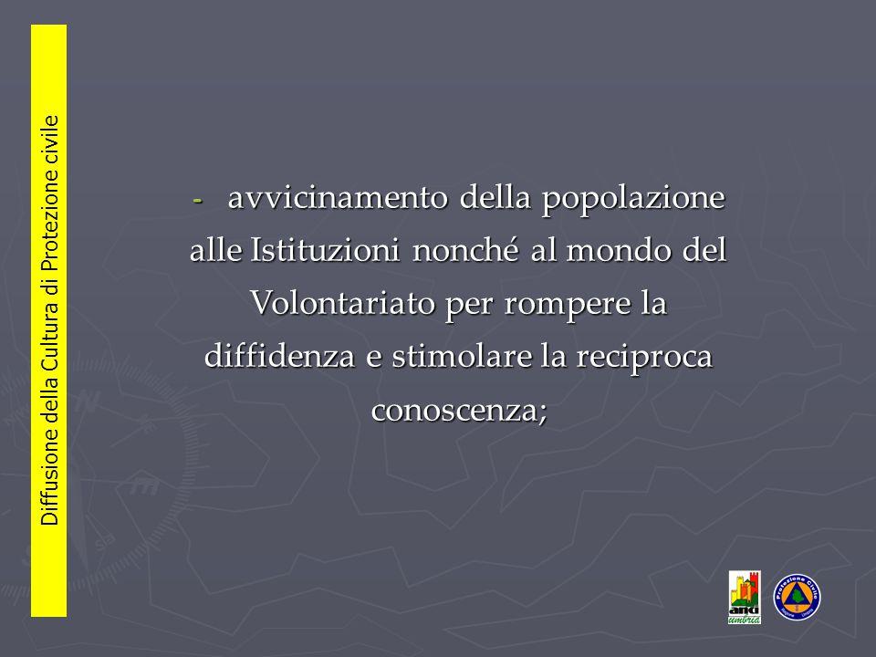 - avvicinamento della popolazione alle Istituzioni nonché al mondo del Volontariato per rompere la diffidenza e stimolare la reciproca conoscenza;