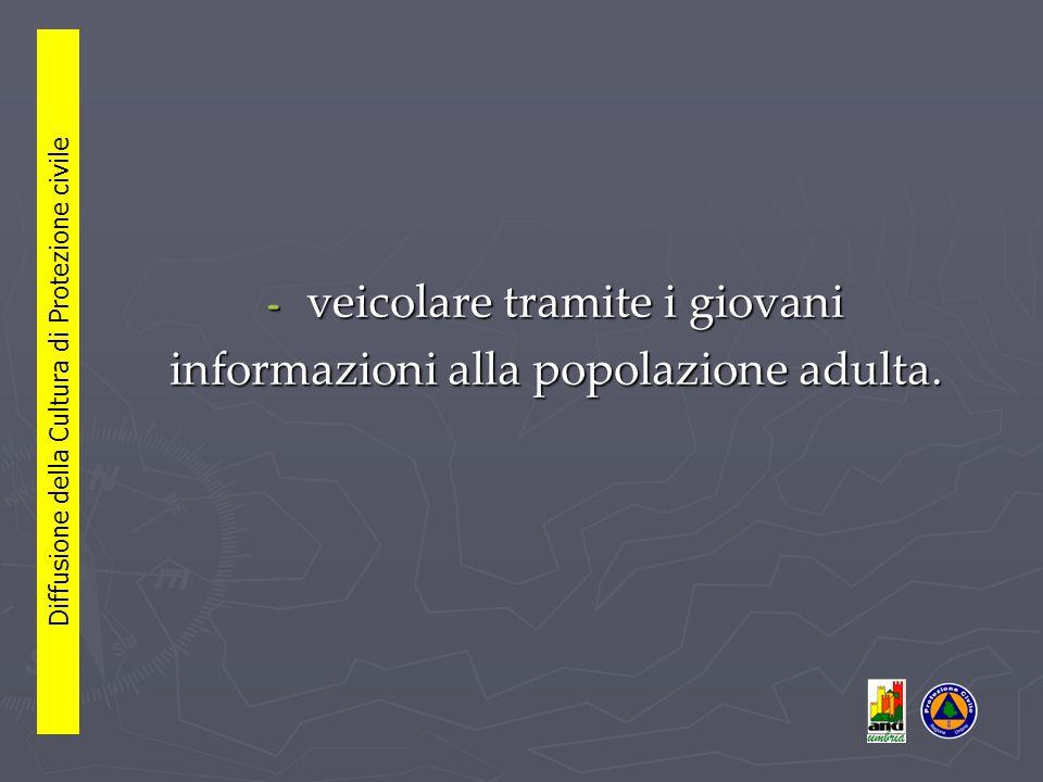 - veicolare tramite i giovani informazioni alla popolazione adulta.
