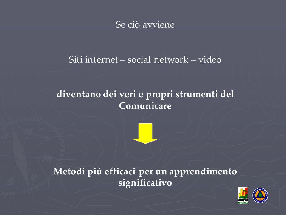 Se ciò avviene Siti internet – social network – video diventano dei veri e propri strumenti del Comunicare Metodi più efficaci per un apprendimento significativo