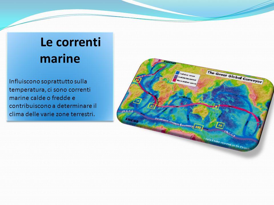 Le correnti marine Influiscono soprattutto sulla temperatura, ci sono correnti marine calde o fredde e contribuiscono a determinare il clima delle var