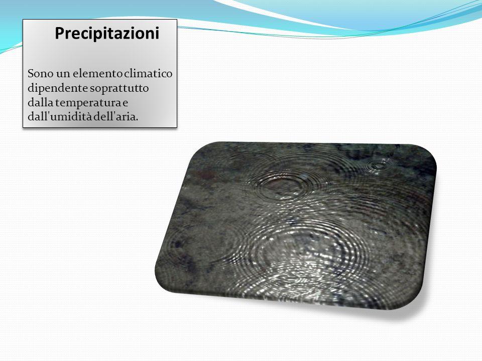 Precipitazioni Sono un elemento climatico dipendente soprattutto dalla temperatura e dall'umidità dell'aria. Precipitazioni Sono un elemento climatico