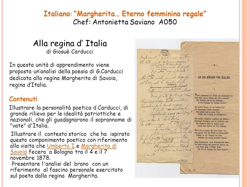 Contenuti Illustrare la personalità poetica d Carducci, di grande rilievo per le idealità patriottiche e nazionali, che gli guadagnarono il soprannome