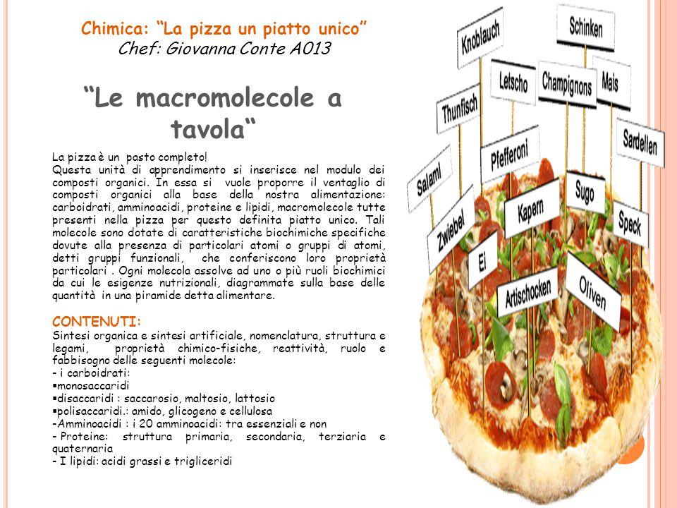 """Chimica: """"La pizza un piatto unico"""" Chef: Giovanna Conte A013 """"Le macromolecole a tavola"""" La pizza è un pasto completo! Questa unità di apprendimento"""