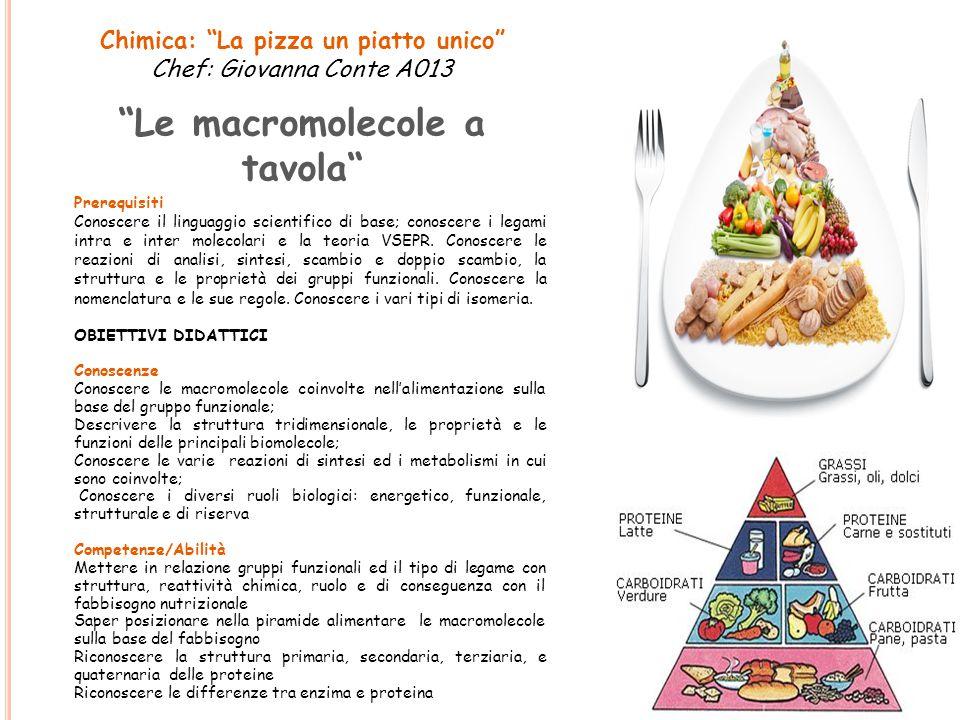 """Chimica: """"La pizza un piatto unico"""" Chef: Giovanna Conte A013 """"Le macromolecole a tavola"""" Prerequisiti Conoscere il linguaggio scientifico di base; co"""