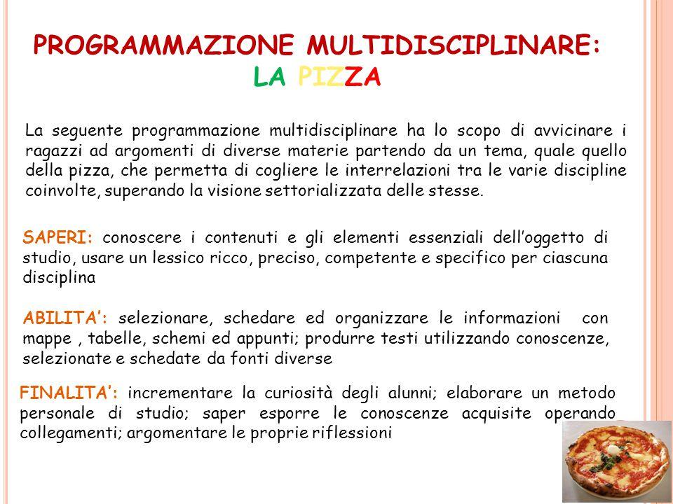 La seguente programmazione multidisciplinare ha lo scopo di avvicinare i ragazzi ad argomenti di diverse materie partendo da un tema, quale quello del