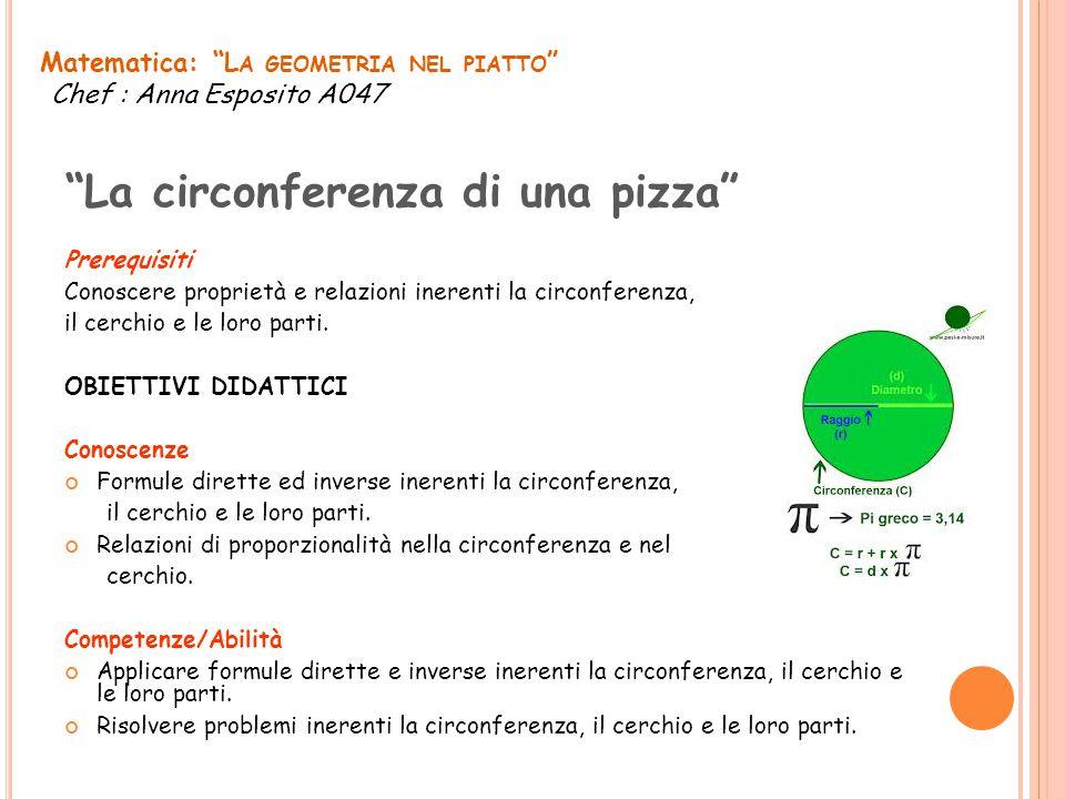 Prerequisiti Conoscere proprietà e relazioni inerenti la circonferenza, il cerchio e le loro parti. OBIETTIVI DIDATTICI Conoscenze Formule dirette ed