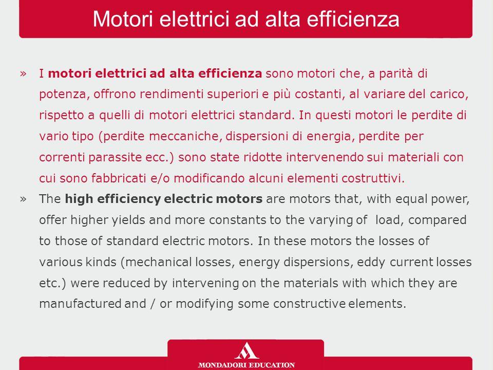 »I motori elettrici ad alta efficienza sono motori che, a parità di potenza, offrono rendimenti superiori e più costanti, al variare del carico, rispetto a quelli di motori elettrici standard.