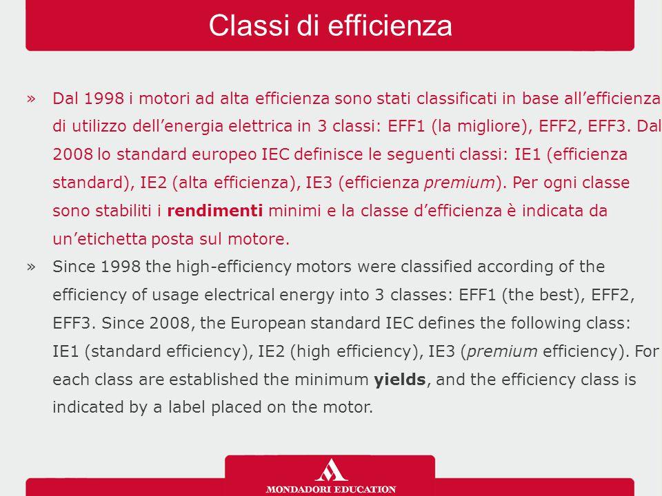 »Dal 1998 i motori ad alta efficienza sono stati classificati in base all'efficienza di utilizzo dell'energia elettrica in 3 classi: EFF1 (la migliore), EFF2, EFF3.