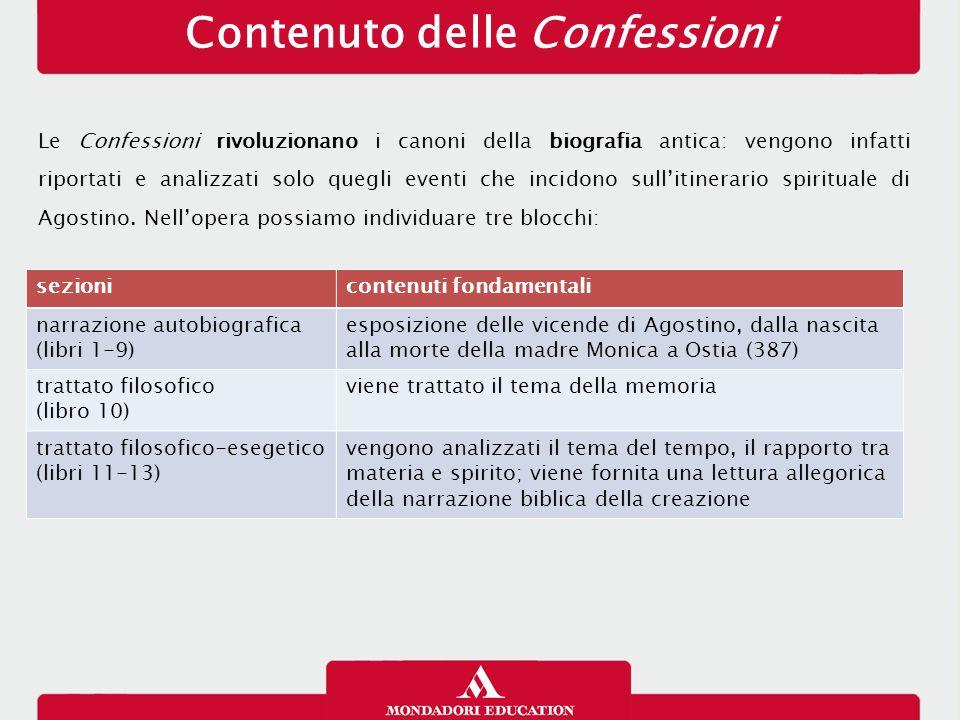Contenuto delle Confessioni Le Confessioni rivoluzionano i canoni della biografia antica: vengono infatti riportati e analizzati solo quegli eventi che incidono sull'itinerario spirituale di Agostino.