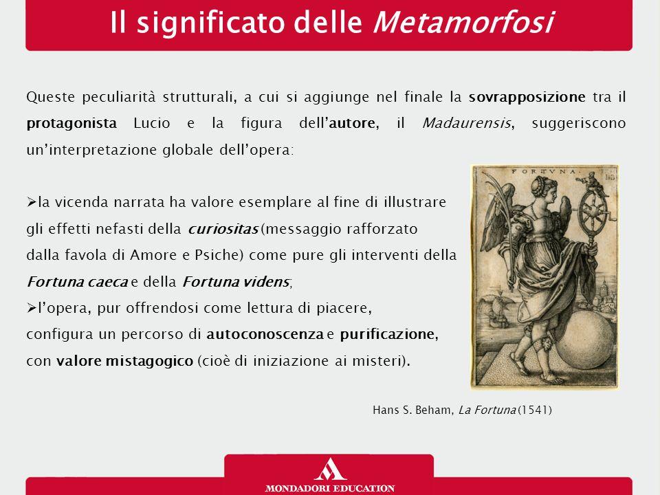 Il significato delle Metamorfosi Queste peculiarità strutturali, a cui si aggiunge nel finale la sovrapposizione tra il protagonista Lucio e la figura