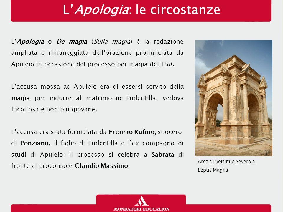L'Apologia: le circostanze L'Apologia o De magia (Sulla magia) è la redazione ampliata e rimaneggiata dell'orazione pronunciata da Apuleio in occasione del processo per magia del 158.