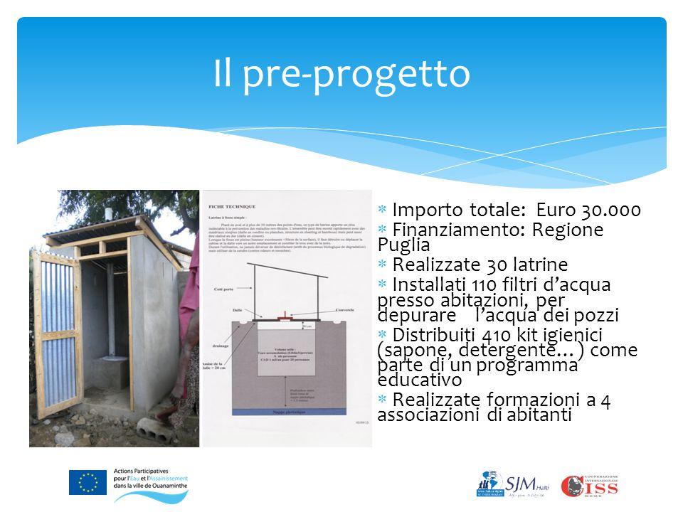 Il pre-progetto  Importo totale: Euro 30.000  Finanziamento: Regione Puglia  Realizzate 30 latrine  Installati 110 filtri d'acqua presso abitazioni, per depurare l'acqua dei pozzi  Distribuiti 410 kit igienici (sapone, detergente…) come parte di un programma educativo  Realizzate formazioni a 4 associazioni di abitanti