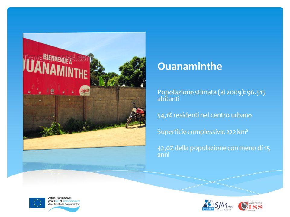 Ouanaminthe Popolazione stimata (al 2009): 96.515 abitanti 54,1% residenti nel centro urbano Superficie complessiva: 222 km² 42,0% della popolazione con meno di 15 anni