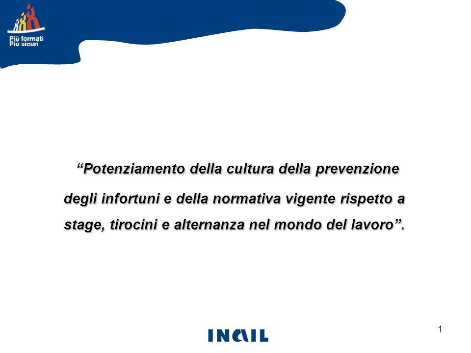 1 Potenziamento della cultura della prevenzione degli infortuni e della normativa vigente rispetto a stage, tirocini e alternanza nel mondo del lavoro .