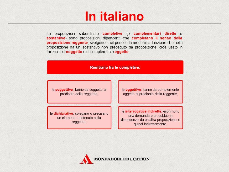 In italiano Le completive dichiarative Verifica sommativa Lessico Le proposizioni completive Le completive esplicative o consecutive Le completive fin