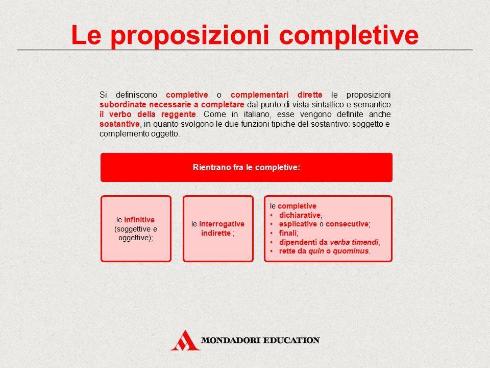 In italiano Le proposizioni subordinate completive (o complementari dirette o sostantive) sono proposizioni dipendenti che completano il senso della p