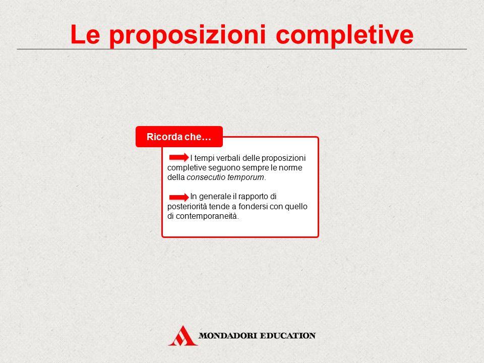 Le proposizioni completive Si definiscono completive o complementari dirette le proposizioni subordinate necessarie a completare dal punto di vista si