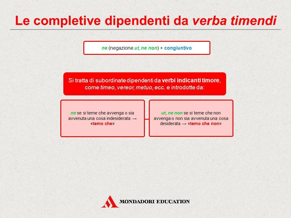 Le completive finali ut (negazione ne) + congiuntivo Si tratta di subordinate aventi valore finale, rette da verbi o locuzioni di significato volitivo