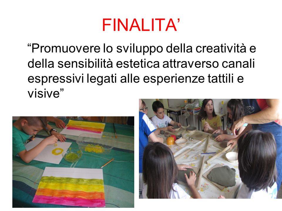 """FINALITA' """"Promuovere lo sviluppo della creatività e della sensibilità estetica attraverso canali espressivi legati alle esperienze tattili e visive"""""""