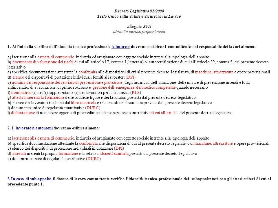 Decreto Legislativo 81/2008 Testo Unico sulla Salute e Sicurezza sul Lavoro Allegato XVII Idoneità tecnico professionale 1.