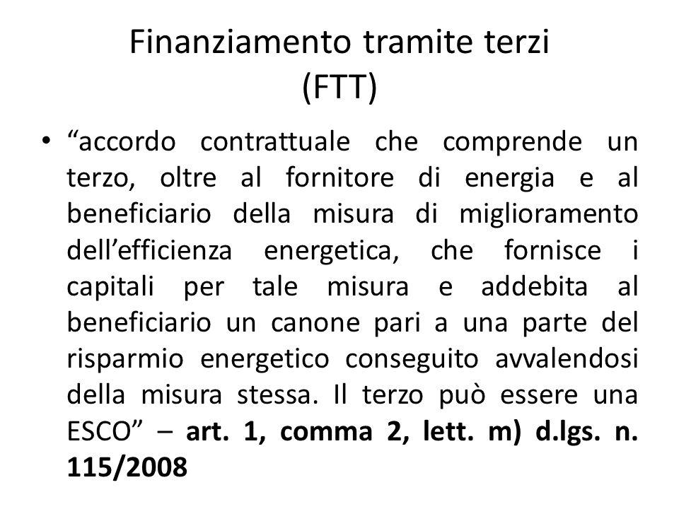 """Finanziamento tramite terzi (FTT) """"accordo contrattuale che comprende un terzo, oltre al fornitore di energia e al beneficiario della misura di miglio"""