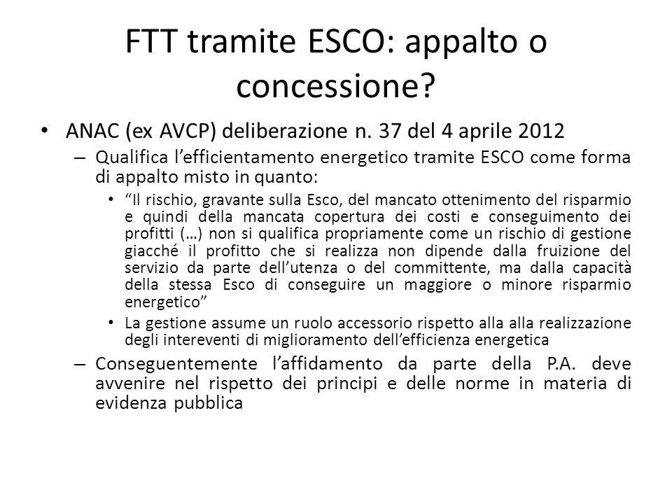 FTT tramite ESCO: appalto o concessione? ANAC (ex AVCP) deliberazione n. 37 del 4 aprile 2012 – Qualifica l'efficientamento energetico tramite ESCO co