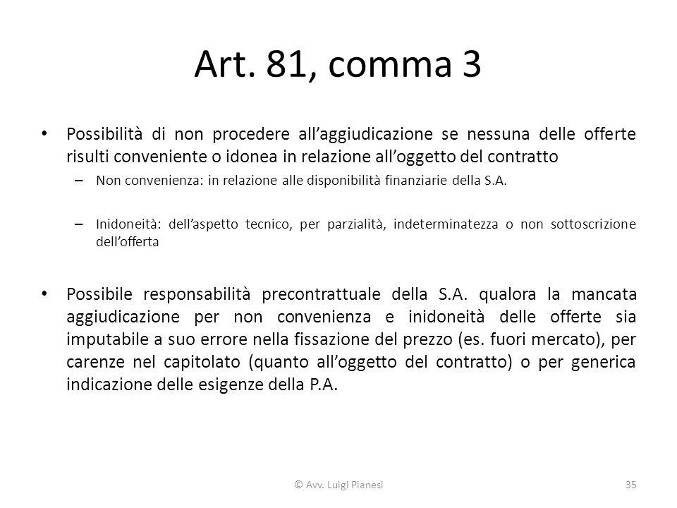 Art. 81, comma 3 Possibilità di non procedere all'aggiudicazione se nessuna delle offerte risulti conveniente o idonea in relazione all'oggetto del co