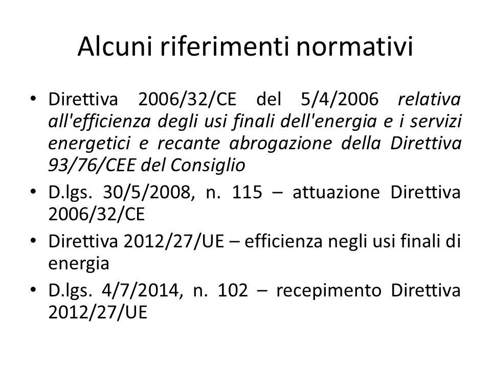 Alcuni riferimenti normativi Direttiva 2006/32/CE del 5/4/2006 relativa all'efficienza degli usi finali dell'energia e i servizi energetici e recante