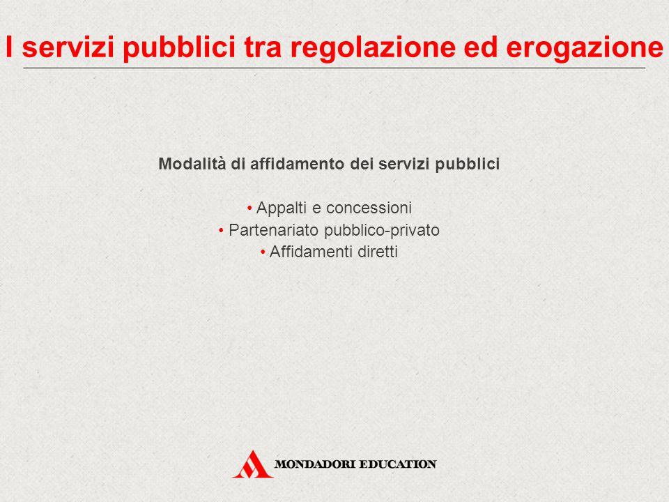 Modalità di affidamento dei servizi pubblici Appalti e concessioni Partenariato pubblico-privato Affidamenti diretti I servizi pubblici tra regolazion