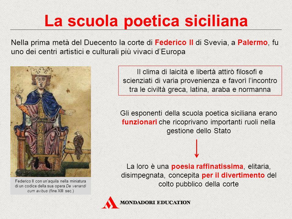 La scuola poetica siciliana Nella prima metà del Duecento la corte di Federico II di Svevia, a Palermo, fu uno dei centri artistici e culturali più vi
