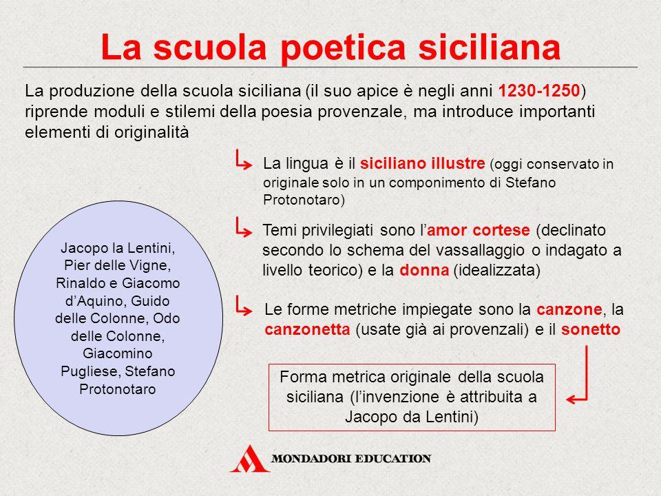 La scuola poetica siciliana La produzione della scuola siciliana (il suo apice è negli anni 1230-1250) riprende moduli e stilemi della poesia provenza