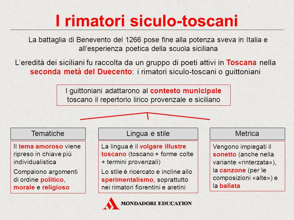 I rimatori siculo-toscani La battaglia di Benevento del 1266 pose fine alla potenza sveva in Italia e all'esperienza poetica della scuola siciliana L'